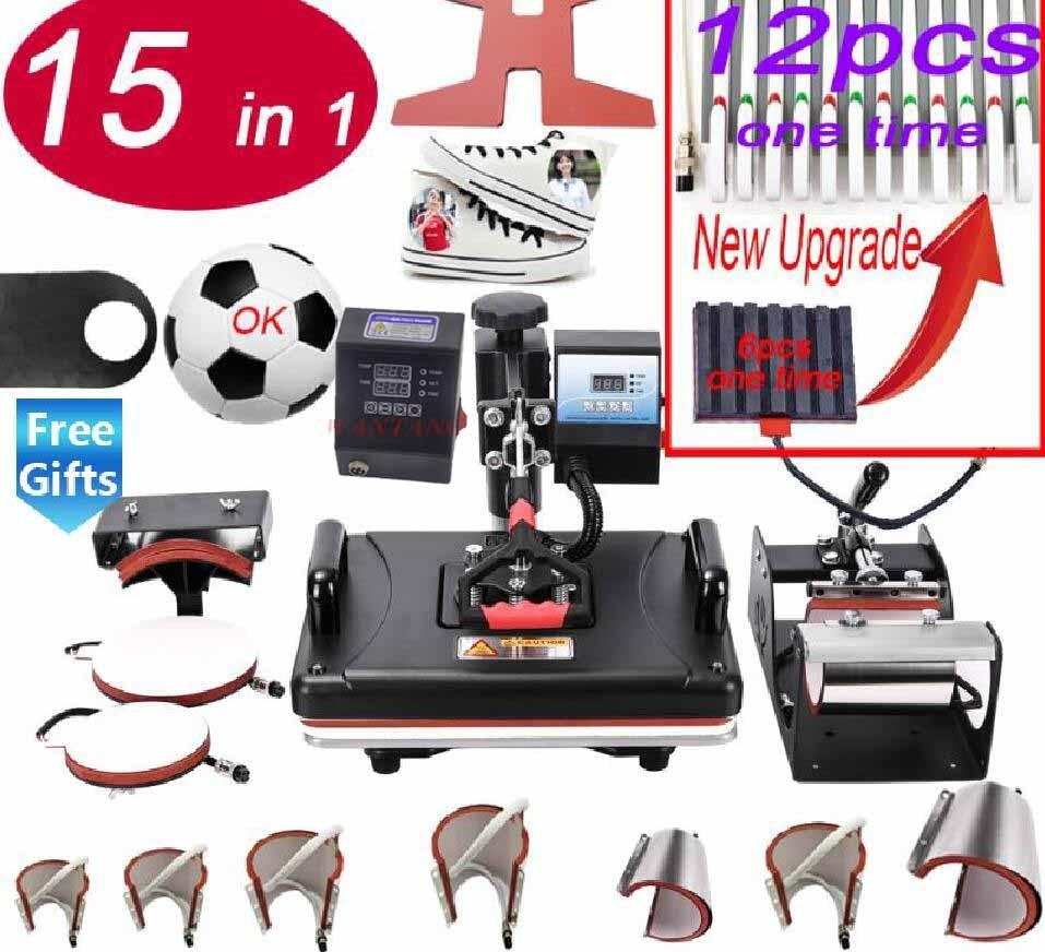 Freeshipping 15IN1 آلة الصحافة الحرارة آلة نقل التسامي لحالات أكواب لوحات بلايز أقلام قبعات حذاء قماش كرة القدم