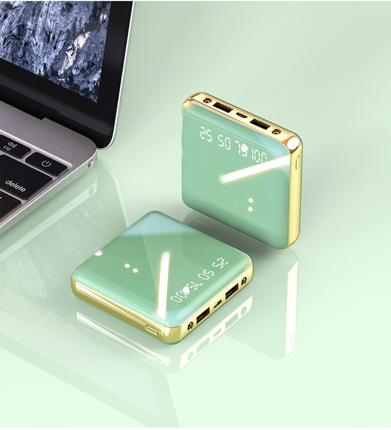 Mini Power Bank 20000mAh LED Mirror Display Dual USB Fast Charger External Battery Power Bank Charge