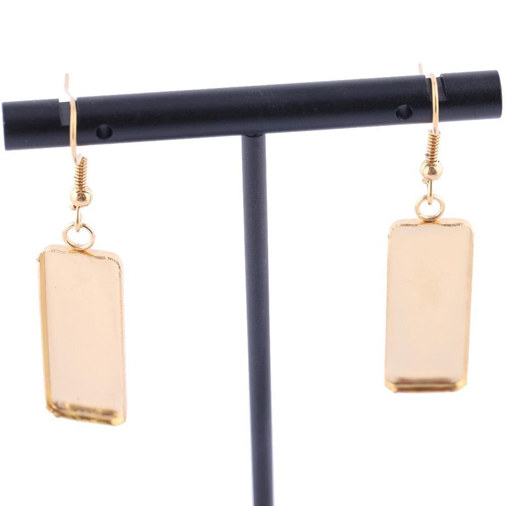 3 pares chapado en oro Acero inoxidable rectángulo cabujón arete ajuste bandejas Diy bisel en blanco hallazgos para fabricación de joyas