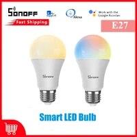 1 pieces SONOFF 9W WiFi Smart LED ampoules Dimmable E27 RGB lampe eWeLink APP controle automatisation  travailler avec Alexa Google Assistant a la maison