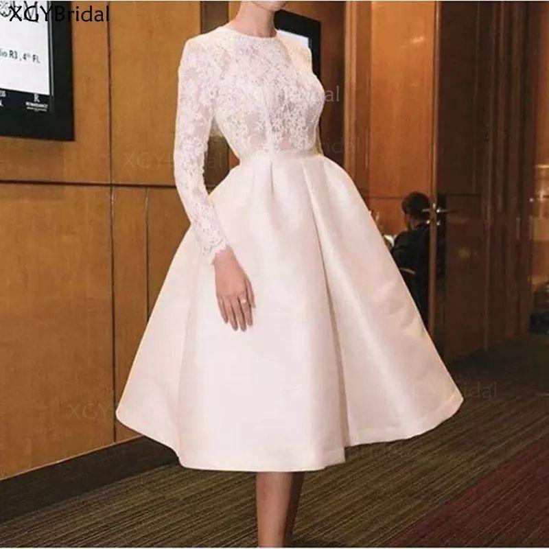 New Arrival Dubai Muslim Short Evening Dress Lace Neck Full Sleeves Tea Length Formal Party Dresses Evening Gowns Vestidos