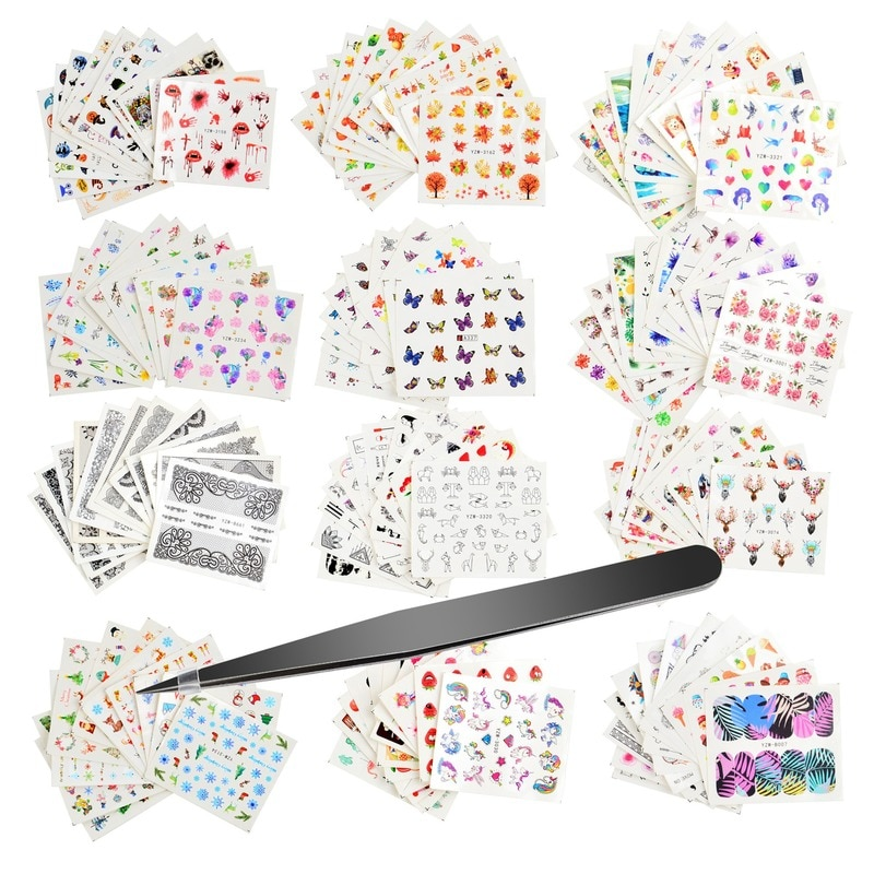 Nail Art Sticker Set with Tweezers Butterfly Lace Maple Leaf Decorations Stickers Designer  Foil