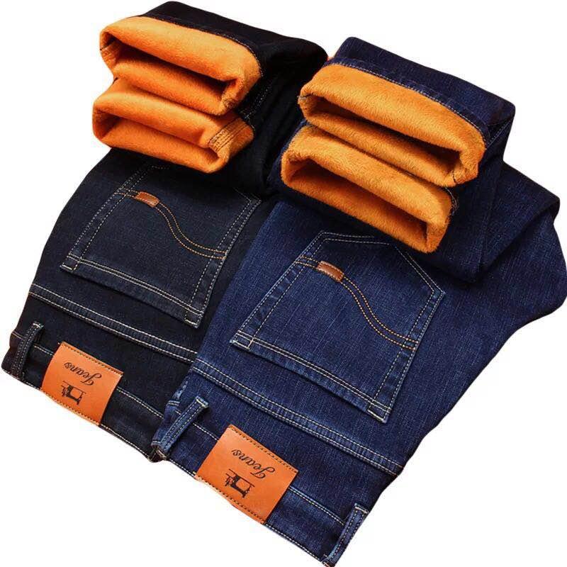 2021 Winter New Men's Warm Jeans Business Casual Elasticity Thick Slim Denim Pants Brand Trousers Black Plus Size 40