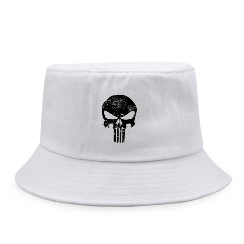 Sombrero de cubo plegable con estampado de calavera de marca de primavera...