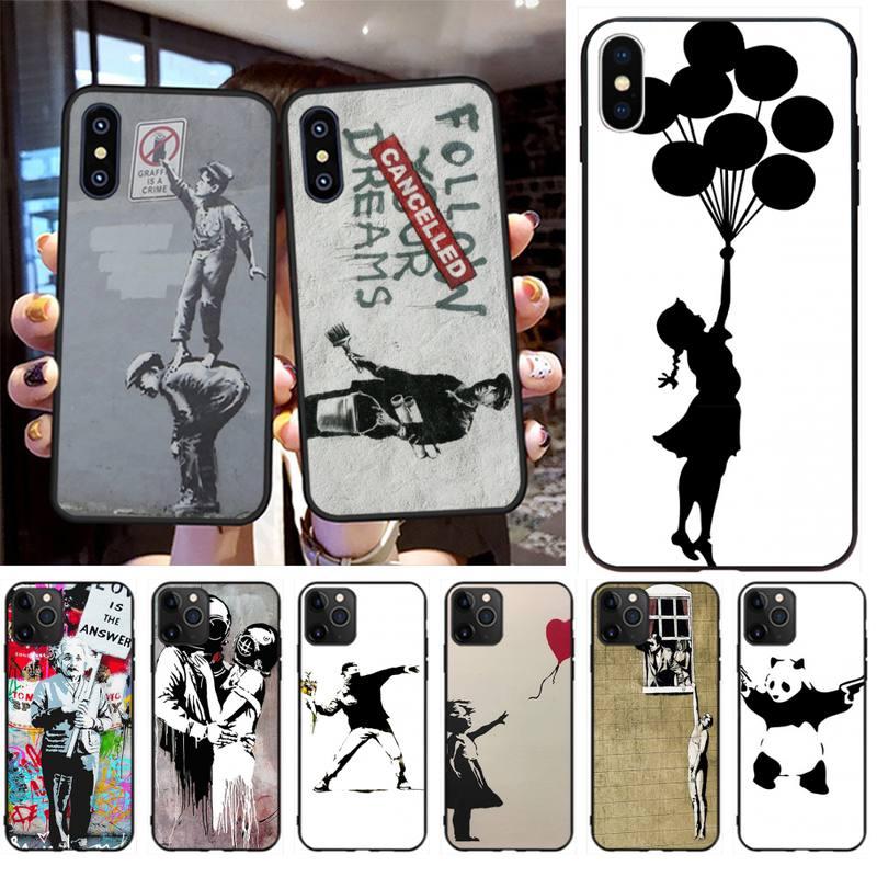 Penghuwan banksy albert banksy palestina tpu preto capa de telefone casco para iphone 11 pro xs max 8 7 6s plus x 5S se xr caso