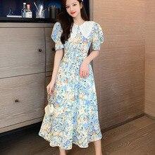 Vintage Floral Print Long Boho Dress 2020 Summer Dress Woman Korean Fashion Robe Puff Sleeve Chiffon Street Dresses Vestidos