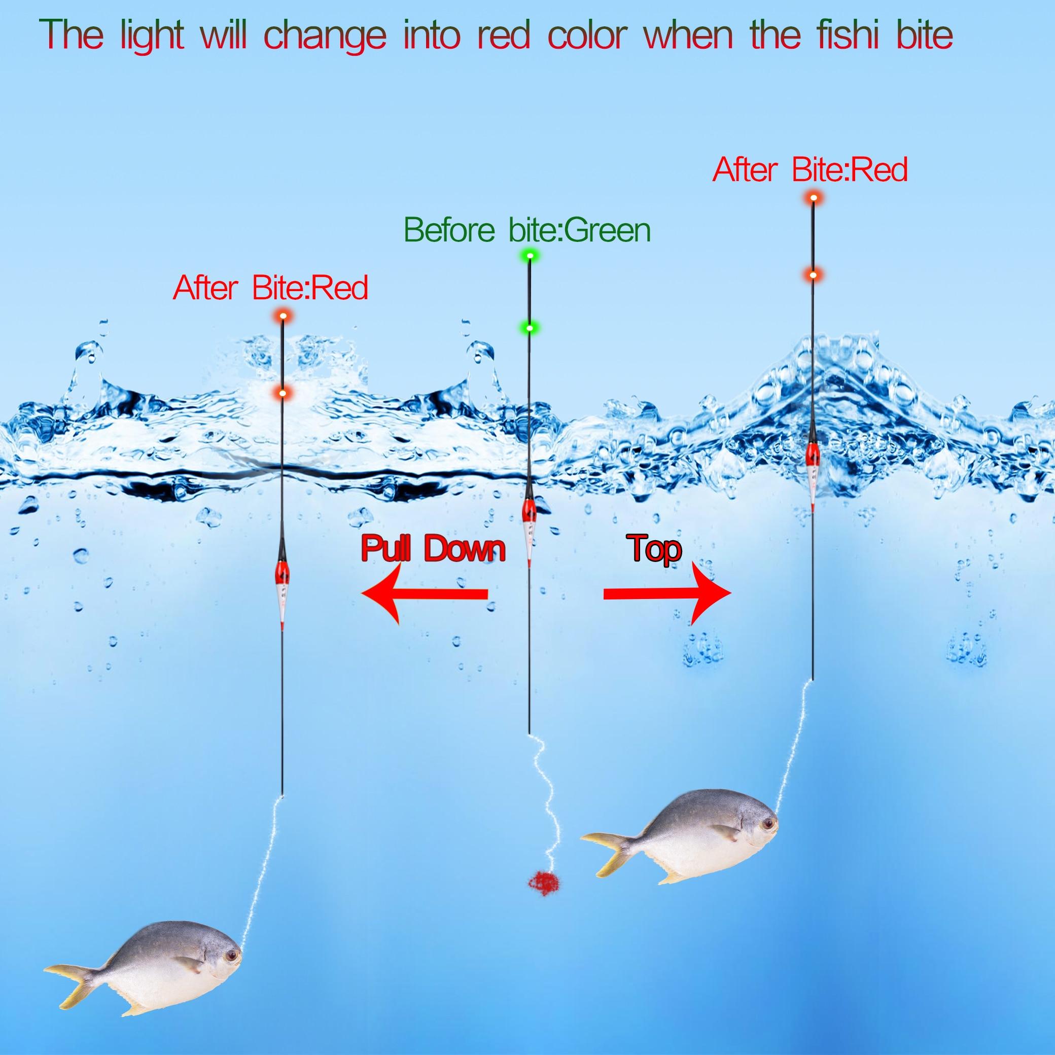 Flotador de pesca inteligente alarma de mordedura de pez cebo LED luz cambio de Color pesca led recuerda automáticamente Bobber de pesca brillante
