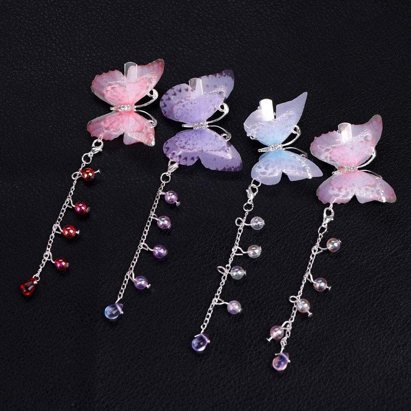 Forseven alta moda longa borboleta de cristal grampos de cabelo clipes antigo chinês hanfu cabelo jóias noiva casamento nupcial headpieces