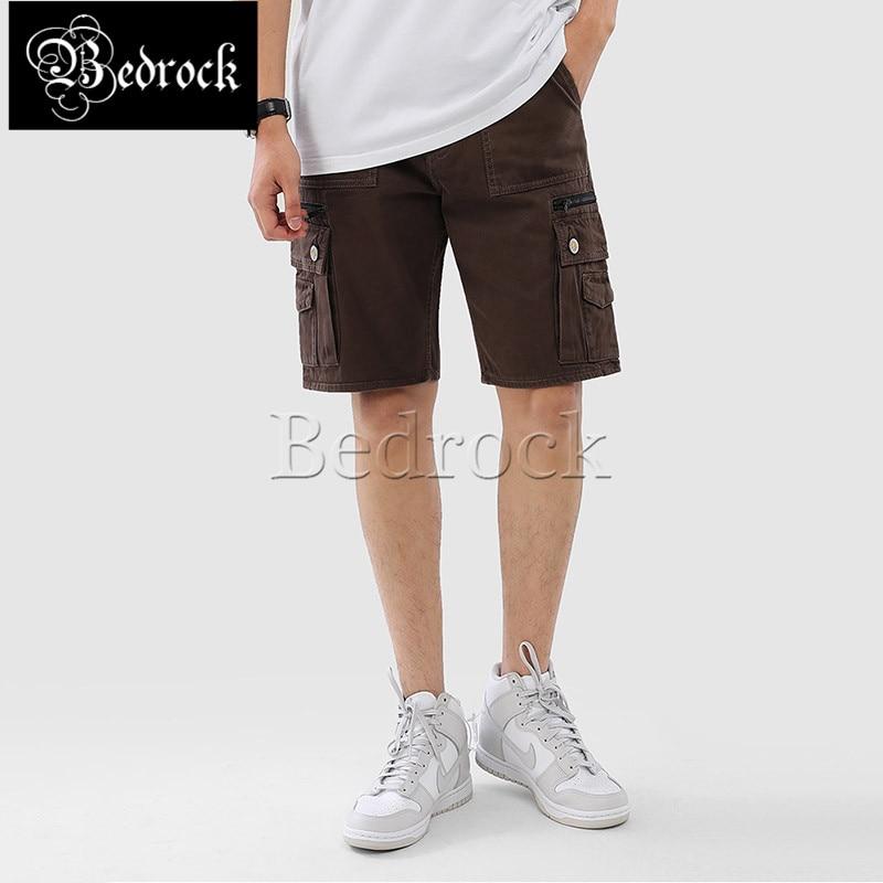 MBBCAR 12oz summer washed raw denim selvedge shorts men brown straight vintage cargo shorts casaul knee length pnats 560