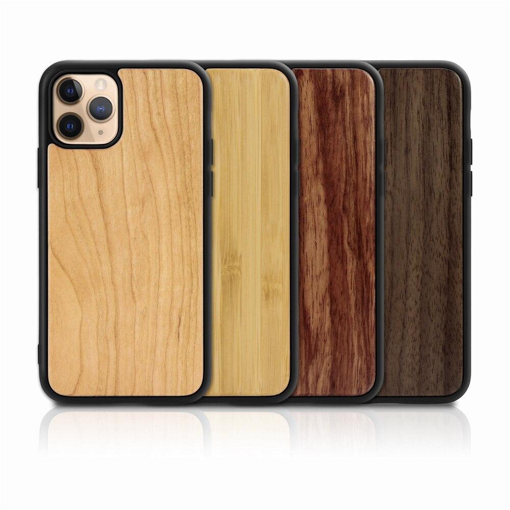 Funda de madera sólida de 10 piezas para iphone 11 Pro Max Xr Xs X 7 8 Plus SE2 Retro de madera de bambú suave de goma TPU