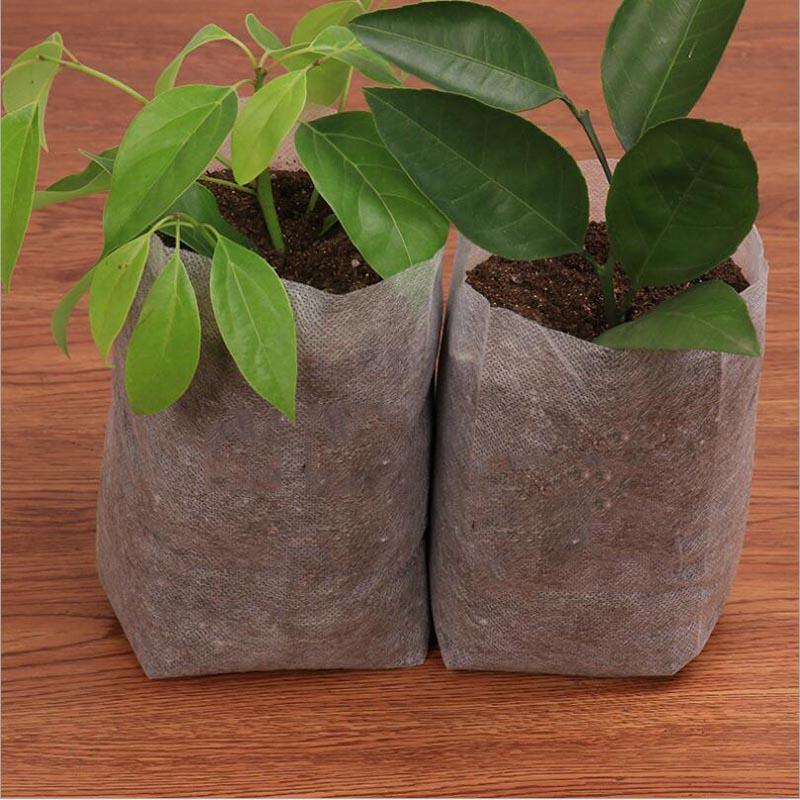 100 шт биоразлагаемые нетканые мешки для питомника мешки для выращивания растений тканевые горшки для рассады Экологичные саженцы для аэрац...