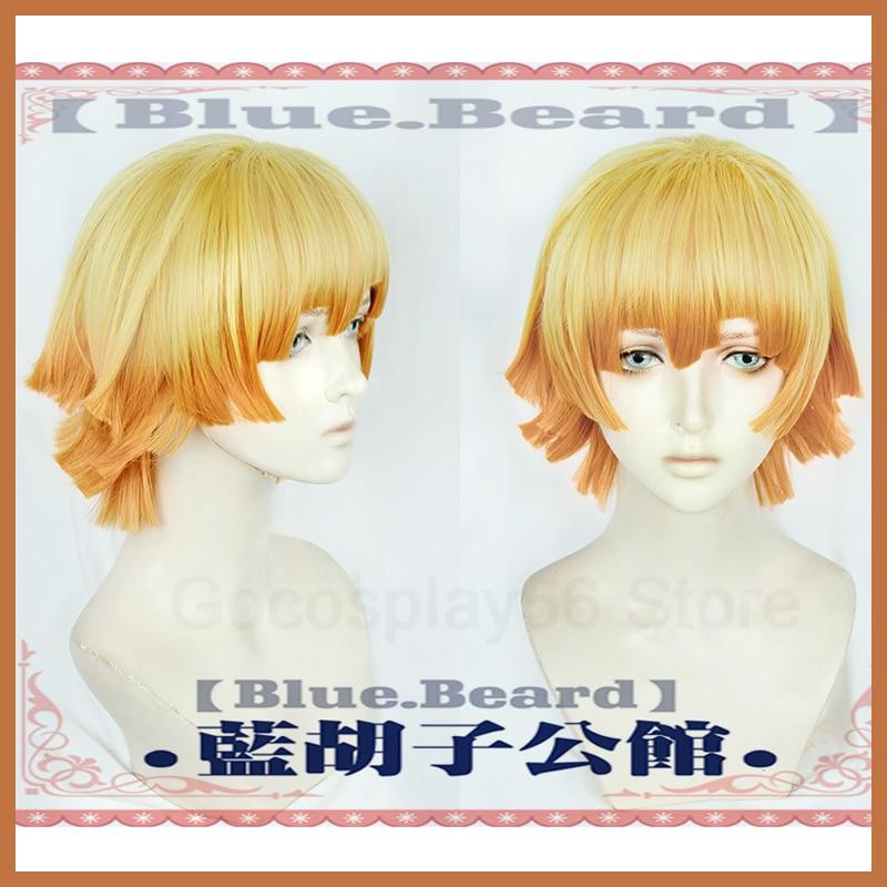 Agatsuma Zenitsu Orange Wig Synthetic Hair for Adult Halloween