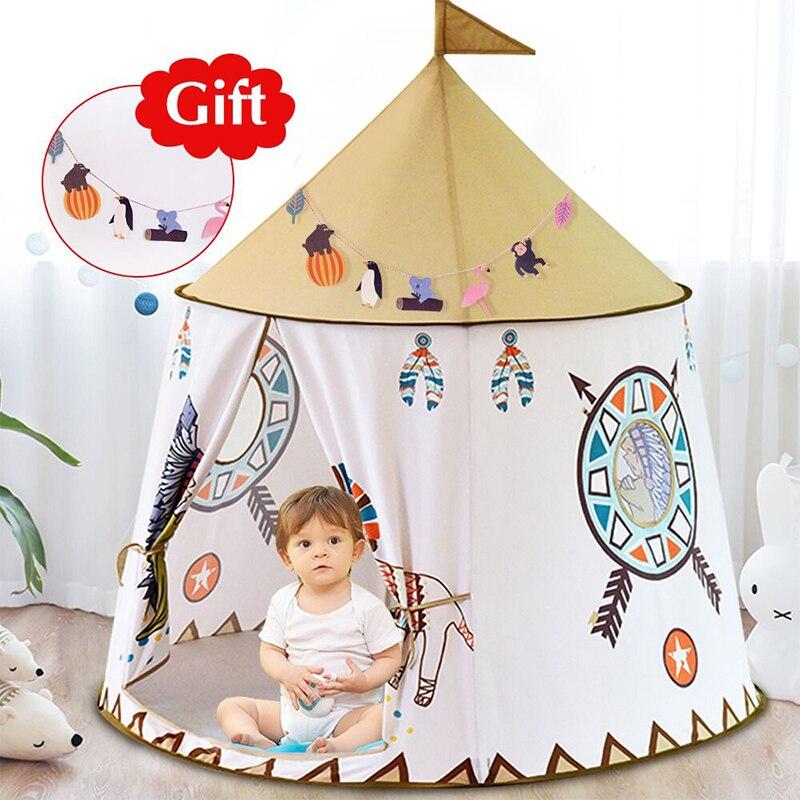 Quintal barraca do miúdo casa portátil princesa castelo 123*116cm presente pendurar bandeira crianças tenda tenda tenda jogar aniversário presente de natal