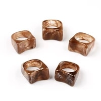 colorful irregular resin finger ring fashion new punk hip hop marble pattern transparent acrylic ring jewelry gift for women men