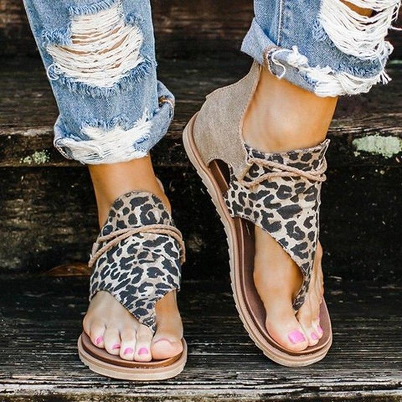 Sandalias planas con cremallera para mujer, zapatos informales con punta abierta de leopardo, lisas, para playa, de verano