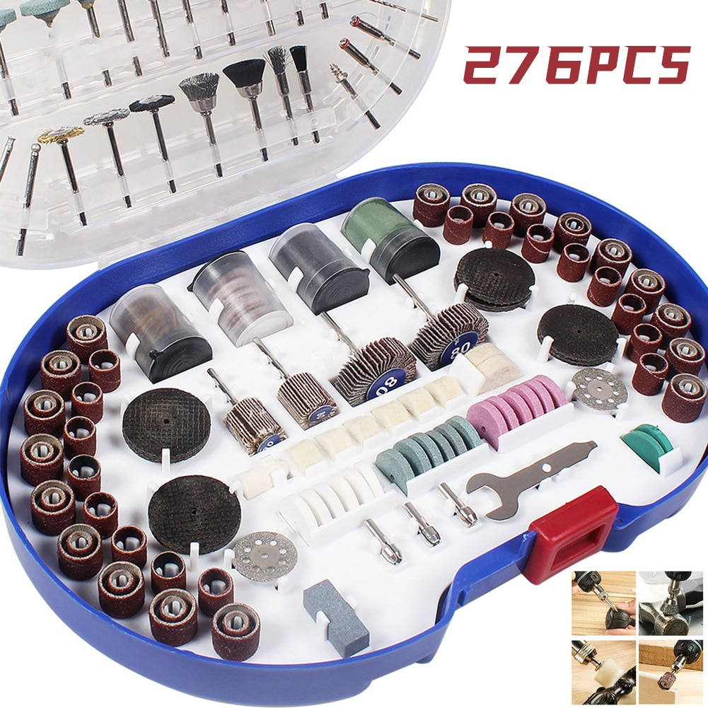 276pcs/Set Rotary Tool Accessory Kit For Grinding Sanding Polishing Universal Woodworking Electric Grinder Accessories Set