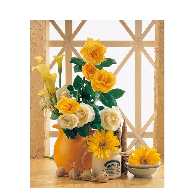 Venda quente pintura por números flores amarelas pintura abstrata baleia diy imagem da lona pintura a óleo pintada à mão para o presente original