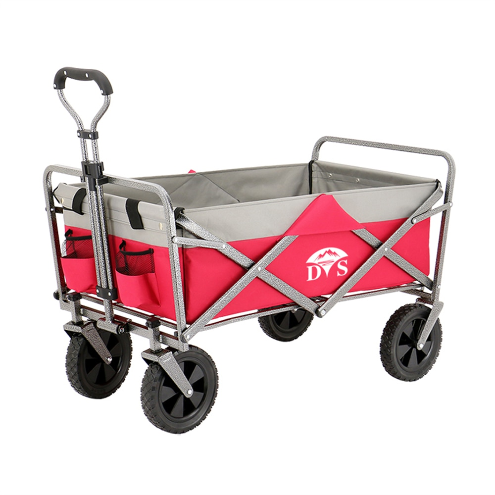 Fold Outdoor Push Pull Utility Folding Wagon with Removable Canopy and Foot Brakes Collapsible Baby Cart Outdoor Camping