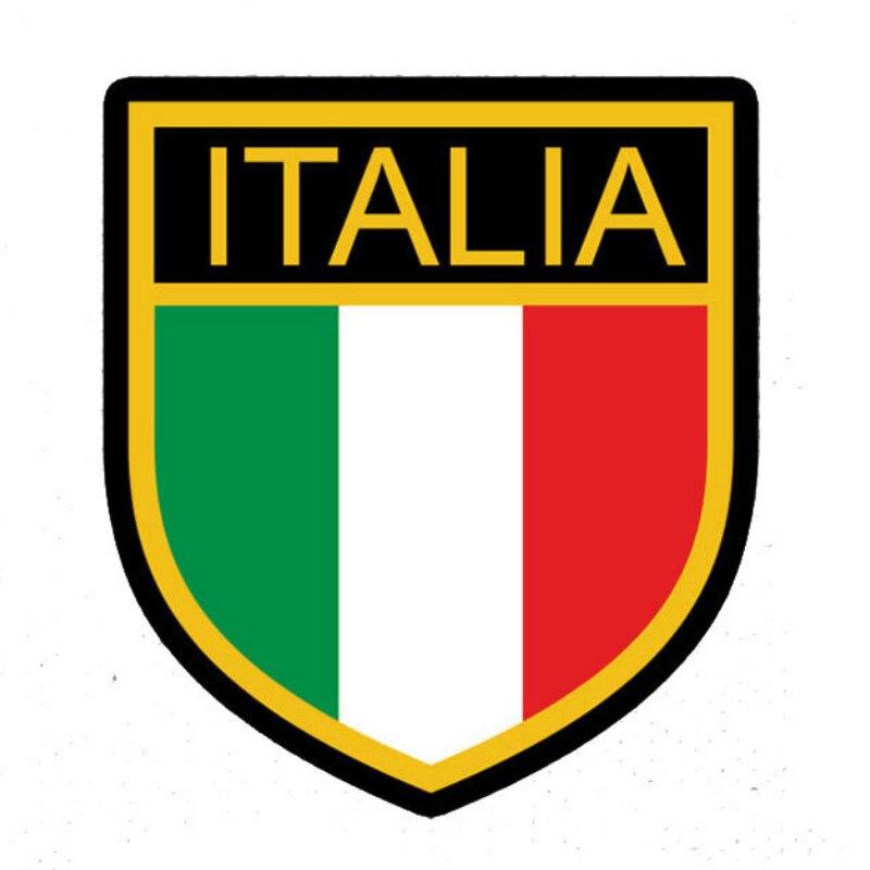 Значок с логотипом автомобиля, наклейка, флаг, Италия, автомобиль, наклейка, щит, мотоцикл, автомобиль, окно, кузов, декоративные ПВХ наклейки...
