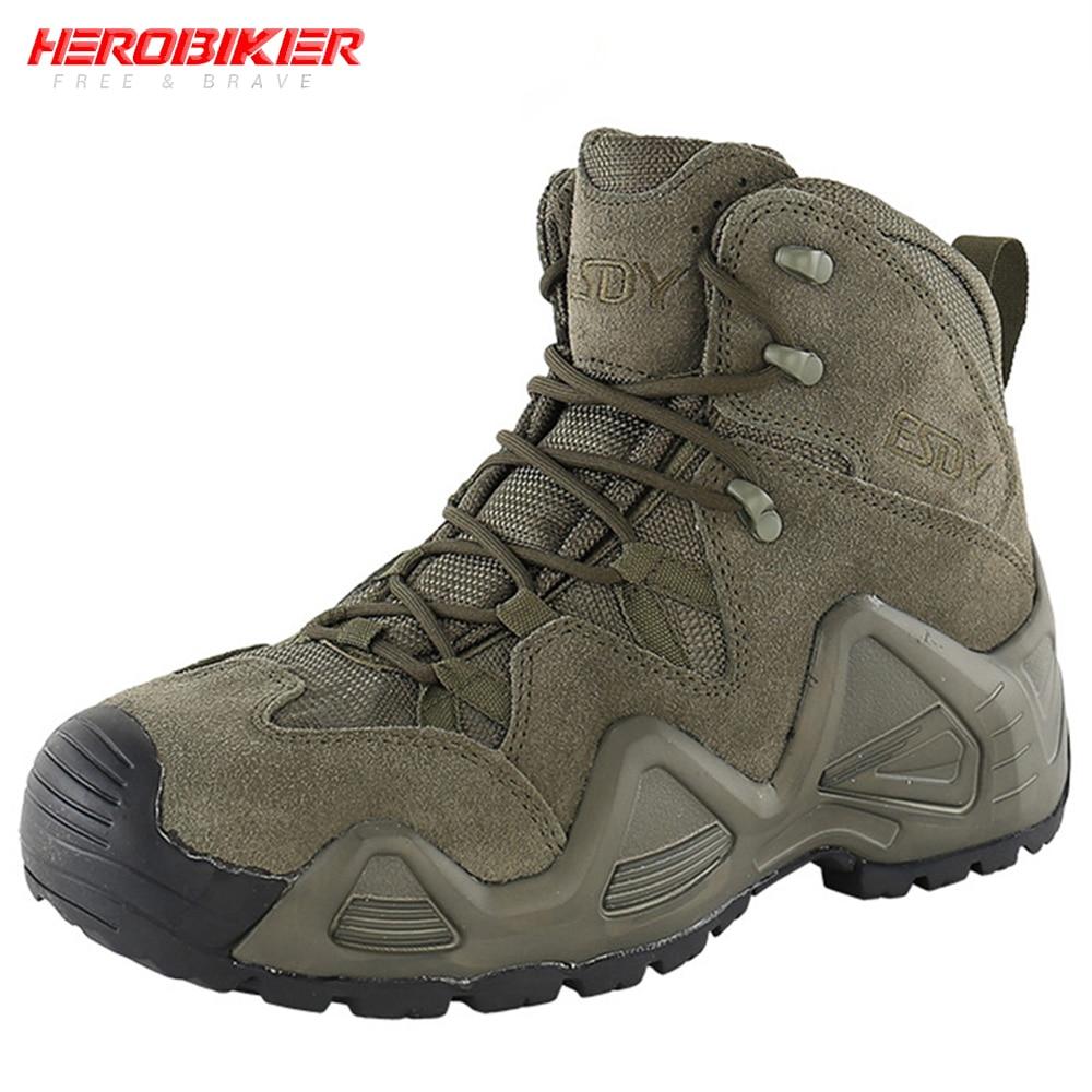 Botas de motociclista HEROBIKER para hombre, botas de carreras de motociclista, botas militares de calidad, botas tácticas especiales para combate en el desierto, botas de trabajo militares