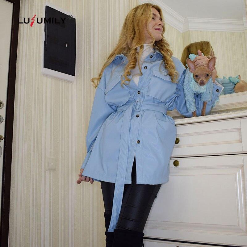 Chaqueta de piel sintética marrón Lusumily 2020, moda femenina, abrigos de imitación, elegante, a la cintura, con cinturón, chaqueta para mujer