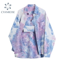 Fashion Tie Dye Blouse Women Vintage Streetwear Harajuku Oversize Long Sleeve Tide Cardigan Shirts+S