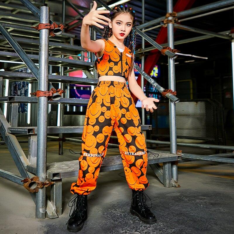 ملابس الهيب هوب الجديدة لعام 2021 للفتيات أزياء الجاز ملابس علوية برتقالية سراويل هيب هوب أزياء الرقص في الشارع ملابس المسرح 120-170