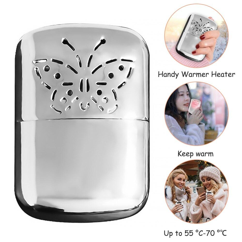 1PC Silber Weiß Zink-legierung Hand Wärmer Tragbare Tasche Wärmer Mit Hoher Wärme Ausgang, Poliert Galvani Handliche Heizung