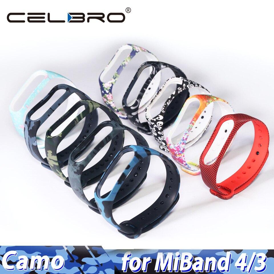 Camuflaje Camo Correa para Xiaomi Mi banda 4 Pulsera Correa para Mi Band4 Band3 MiBand4 Miband3 Miband gota de 4 Pulsera de silicona TPU