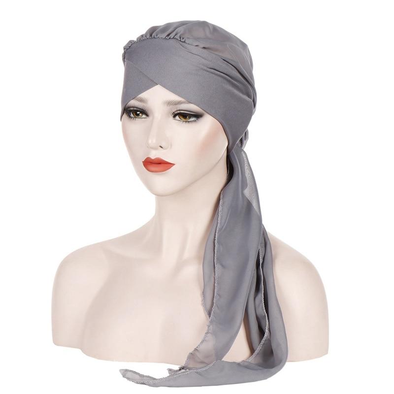 Mulheres muçulmanas hijabs sólidos chapéus cabeça de turbante lenço de quimio câncer boné de perda de cabelo chapéu longo cauda arco bonnet banda larga envoltório boné