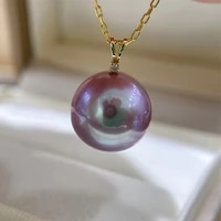 hengsheng 12 2mm natural fresh water purple pearl pendant 18k yellow gold with zircon necklaces for women fine pearls pendants