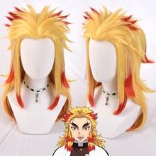 Anime Demon Slayer Rengoku Kyoujurou parrucca bionda Ombre Costume Cosplay uomo donna resistente al calore coda di cavallo parrucche + cappuccio parrucca