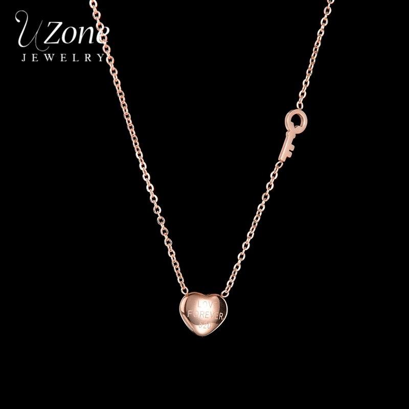 Collar minimalista con colgante de corazón UZone, collar con cadena de acero inoxidable de oro rosa para mujeres y niñas, regalo para fiesta de cumpleaños