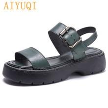 AIYUQI Sandals Women Summer Rome 2021 New Genuine Leather Platform Simple Women Sandals Green Fashio