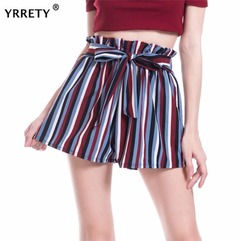Shorts String Elastic Waist Summer Elastic Casual Short Pants Stripe Printing High Waist Shorts Ladies Fashion Bandage