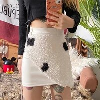 autumn and winter 2020 new womens dress slim fit and buttock fashion plush cow print skirt for women party and bar languid