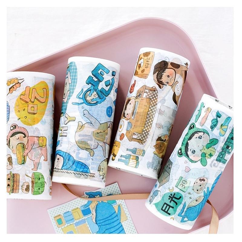 Novedad Kawaii, cinta de Cinta adhesiva Washi de diario para chica, etiqueta adhesiva DIY para álbum de recortes, cinta adhesiva de 10cm * 5m 1 unidad