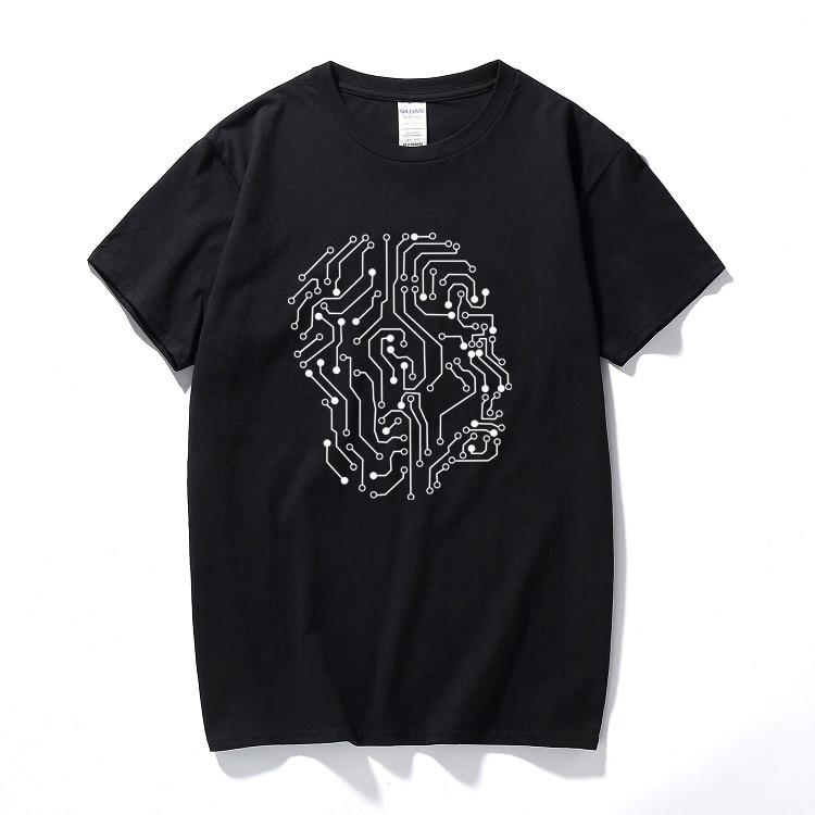 Футболки чип человека, черные креативные летние футболки, повседневные хлопковые топы, футболки, новинка, футболки Geeks