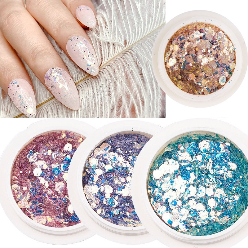 1 Box Holographic Nail Mermaid Glitter Flakes Sparkly 3D Hexagon Colorful Sequins Spangles Polish Manicure Nails Art Decorations
