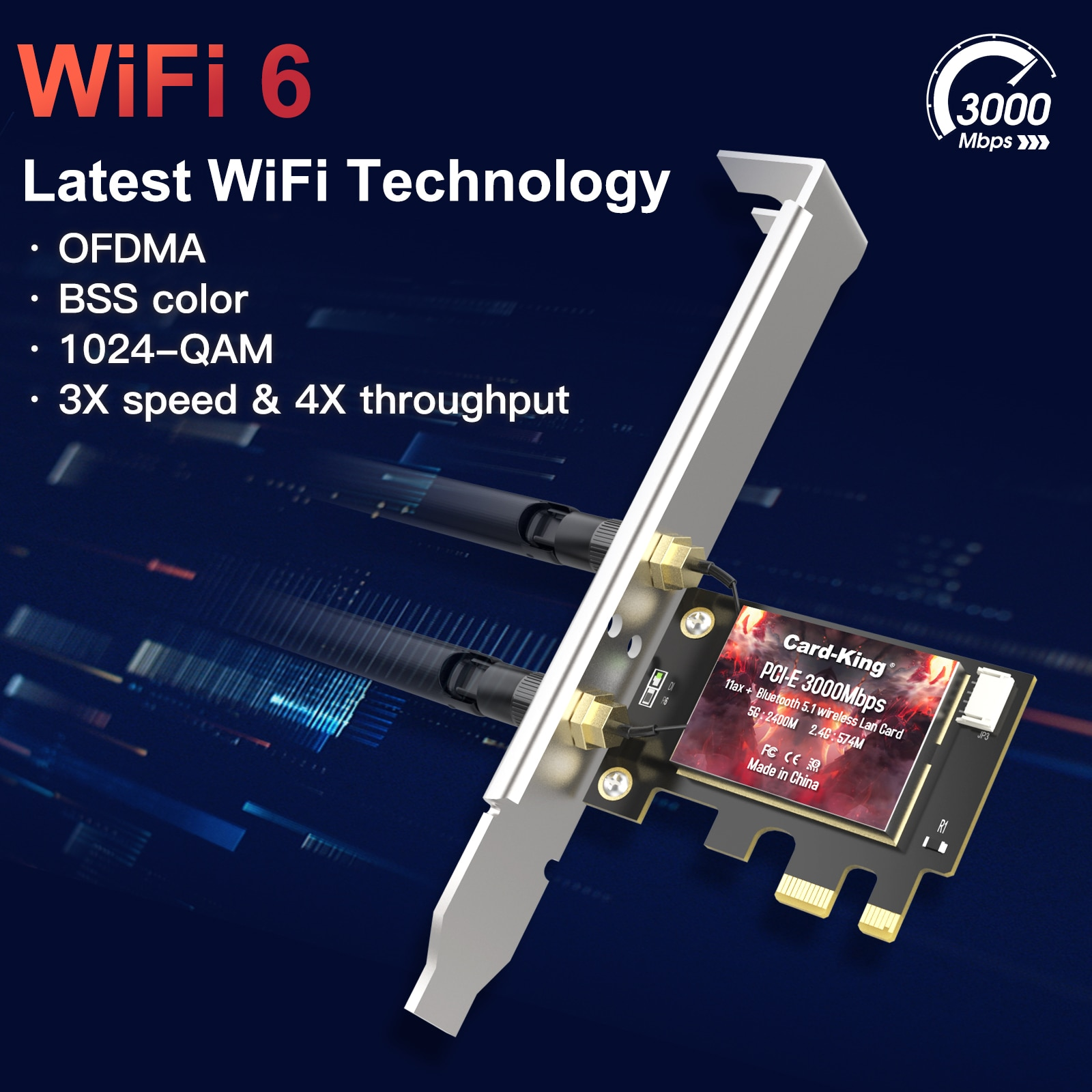 CardKing 3000Mbps WiFi Adapter 6 PCI Express 802.11AC/AX Intel AX200 PCIe Network Card 2.4G/5GHz Bluetooth 5.1 Wi-Fi Dual Band enlarge