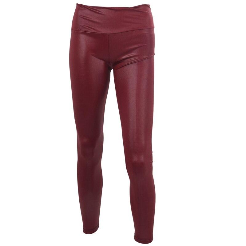 Sexy para mujer imitación cuero Look alta cintura Leggings Pantalones talla L-vino rojo