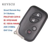 Keyecu Smart Car Remote Key 4 Buttons ID47 for Lexus IS250 IS350 GS350 LS460 ES350 HYQ14AAB 1551A-14AAB 271451-3370 E