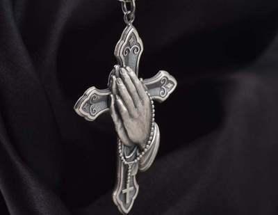 2020 модное ожерелье с подвеской в форме молитвы в стиле панк-рок с Иисусом и крестом Роскошное винтажное серебристое ожерелье goicgold для мужчи...