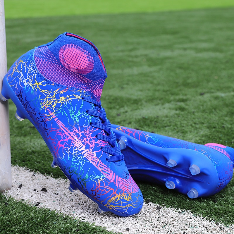 35-45 Plus Size Men Cleats Soccer Shoes High Ankle Football Boots Training Shoes Kids Long Spikes So