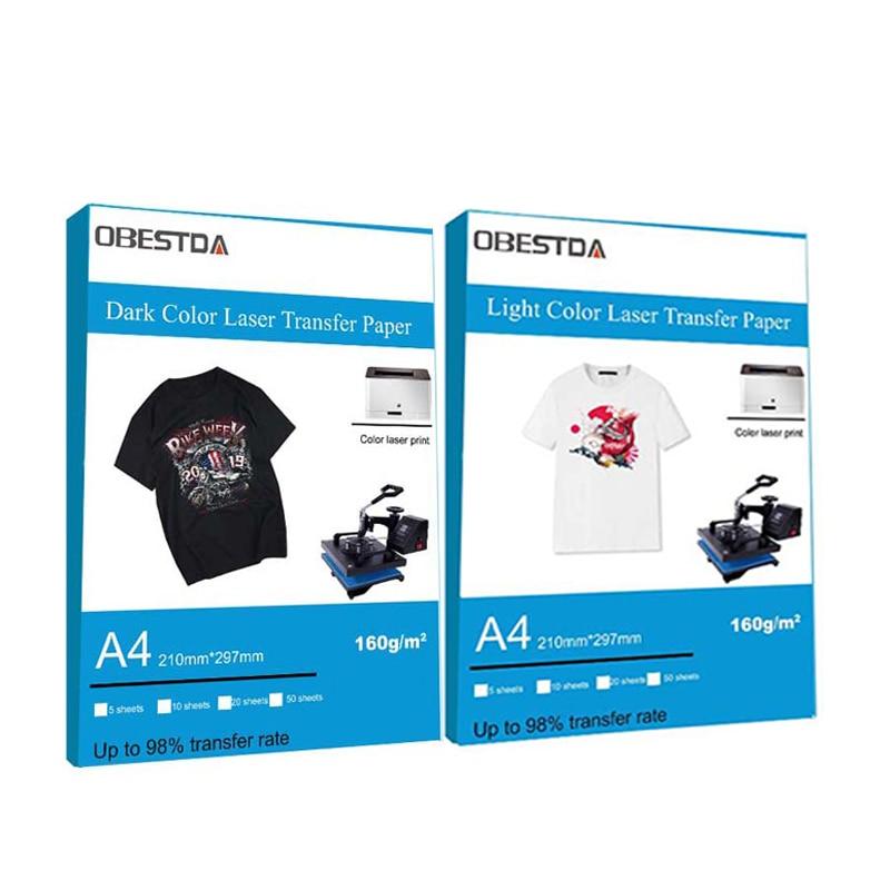 Popular selling A4 dark light color laser toner printer thermal transfer paper pure cotton T-shirt fabric