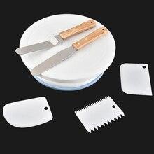 Plaque tournante de 10 pouces   Rond, décoration de gâteau, couteau à pâte, plastique gâteau rotatif crème Base outils de cuisson, plate-forme de spatule 6 pièces/ensemble