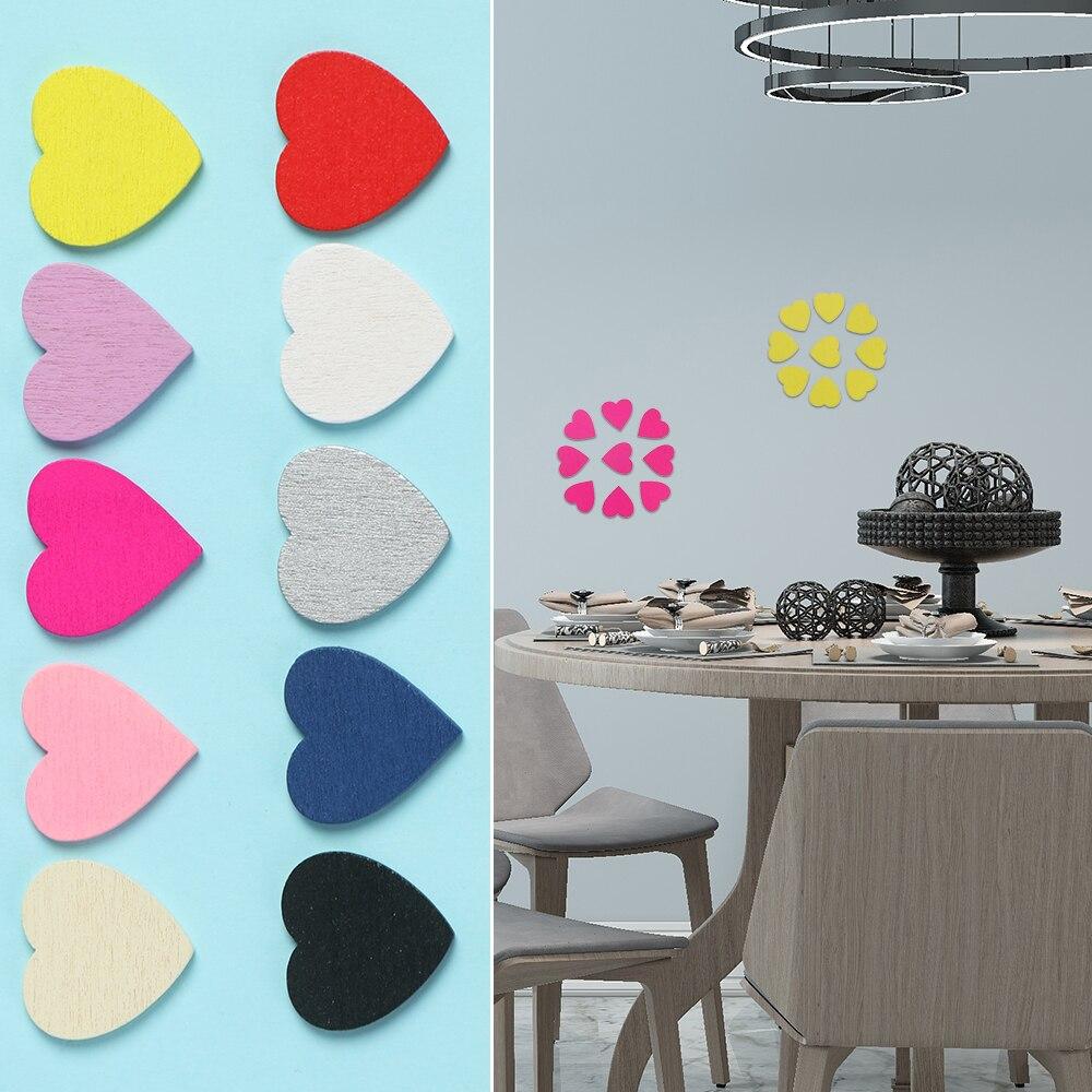 100 Uds. Pegatinas de madera con forma de corazón para pared, confeti en rodajas DIY, artesanías de madera, adornos de boda, accesorios de decoración del hogar