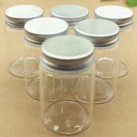 6 pcslot 4770mm 80m small glass bottle jars mini bottles silver screw cap diy craft transparent candy jars empty vial bottles