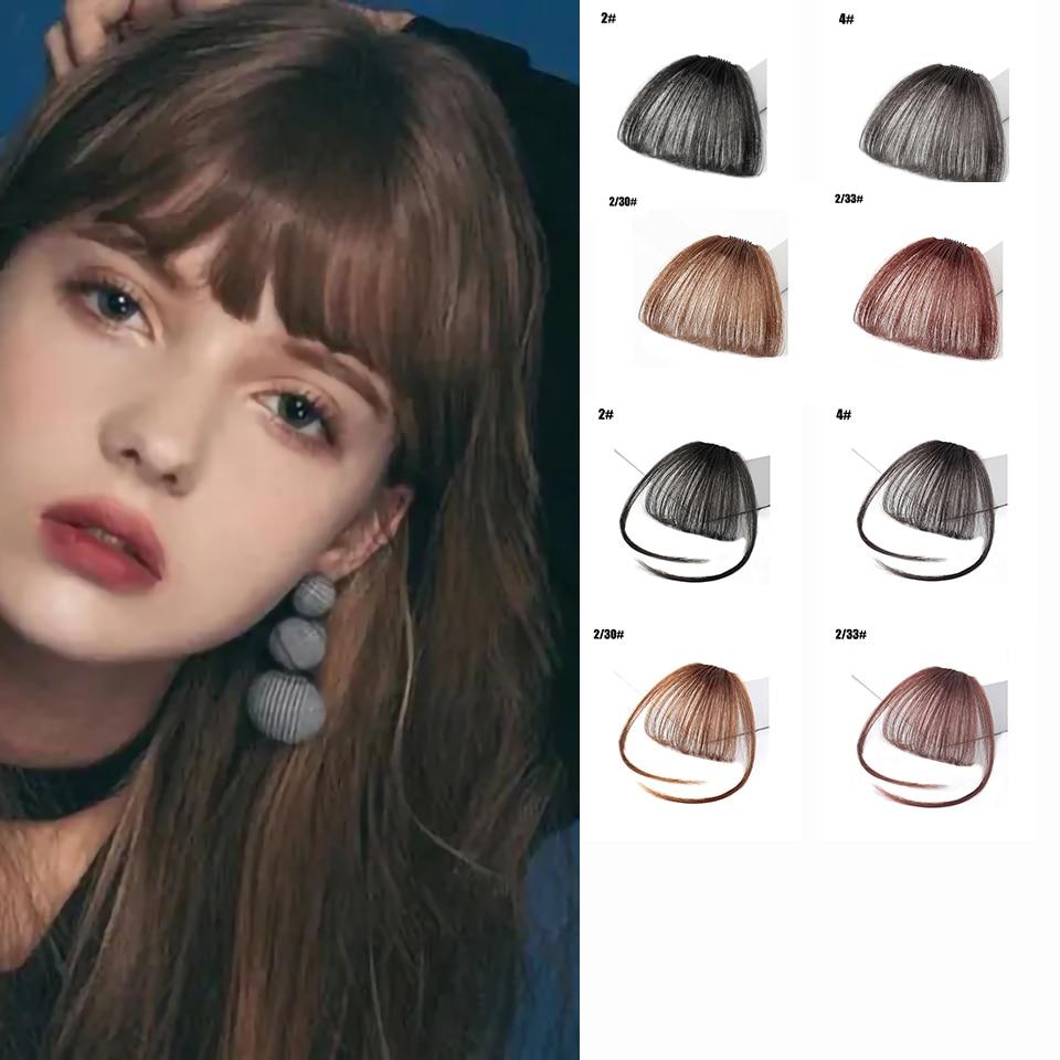 BYF Air Bangs Clip In Bangs Front Neat Bangs Fringe Hair Women Clip In Hair Extension Synthetic High Temperature Fiber Fake Hair