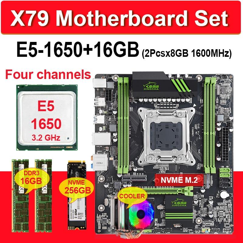 مجموعة اللوحة الأم JINGSHA X79, مع مجموعات LGA2011 سيون ، وحدة المعالجة المركزية E5 1650 ، قطعة (2) x في (8) جيجابايت = ذاكرة بمجموع 16 جيجابايت ، ذاكرة DDR3 بـ 1600...